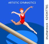 artistic gymnastics balance... | Shutterstock .eps vector #424347781