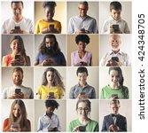 smart phone users | Shutterstock . vector #424348705