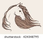 horse's head. tattoo sketch.... | Shutterstock .eps vector #424348795
