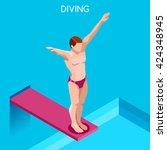 diver swimmer trampoline... | Shutterstock .eps vector #424348945
