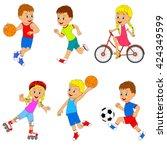 children's sports activity set  ... | Shutterstock .eps vector #424349599