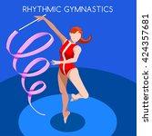 isometric vector 3d rhythmic... | Shutterstock .eps vector #424357681