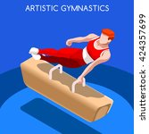 artistic gymnastics pommel... | Shutterstock .eps vector #424357699