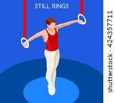 artistic gymnastics still rings ... | Shutterstock .eps vector #424357711