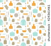 seamless pattern with kitchen... | Shutterstock . vector #424361461