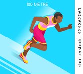 male running 100 metres dash... | Shutterstock .eps vector #424362061