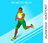 running man male relay baton... | Shutterstock .eps vector #424371907