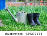 rubber boots with watering can... | Shutterstock . vector #424373935