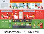 fresh pizza menu flat concept... | Shutterstock .eps vector #424374241