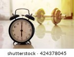 clock and dumbbell background....