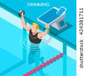 winning sportsman swimmer... | Shutterstock .eps vector #424381711