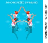 synchronized female swimming... | Shutterstock .eps vector #424381789