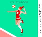 3d isometric volleyball sport... | Shutterstock .eps vector #424381825