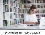 female student study in school...   Shutterstock . vector #424382215