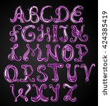 hand drawing alphabet  vector... | Shutterstock .eps vector #424385419