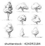 tree sketches set | Shutterstock .eps vector #424392184