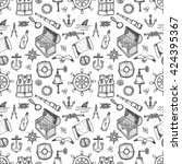 seamless pattern with cute hand ... | Shutterstock .eps vector #424395367