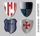 set of medieval shields in... | Shutterstock .eps vector #424397059