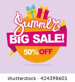summer sale vector banner. 50... | Shutterstock .eps vector #424398601