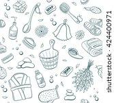 sauna seamless pattern from... | Shutterstock .eps vector #424400971