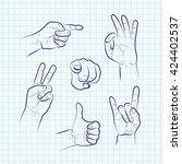 set of various hand gestures ... | Shutterstock .eps vector #424402537