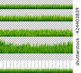 realistic green grass borders ... | Shutterstock .eps vector #424403839