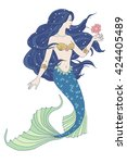 hand drawn mermaid holding a... | Shutterstock .eps vector #424405489