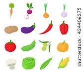 vegetables set in cartoon style ... | Shutterstock .eps vector #424406275