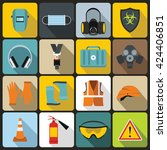 safety work icons set in flat... | Shutterstock .eps vector #424406851