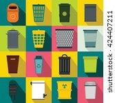 trash can set. flat... | Shutterstock .eps vector #424407211
