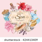spa treatment banner with lotus ... | Shutterstock .eps vector #424413409