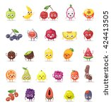 Funny Fruit Characters Cartoon...