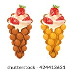 hong kong waffle with... | Shutterstock .eps vector #424413631