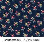 cute pattern in small flower.... | Shutterstock .eps vector #424417801