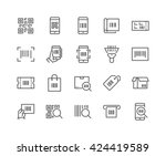 simple set of qr code related... | Shutterstock .eps vector #424419589