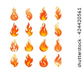 red burning fire flame logo set ... | Shutterstock .eps vector #424420561