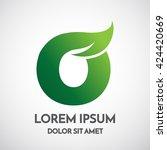 green eco letter o logo... | Shutterstock .eps vector #424420669