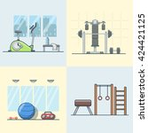 gym exercise equipment room... | Shutterstock .eps vector #424421125