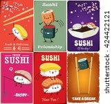 vintage sushi poster design... | Shutterstock .eps vector #424422121