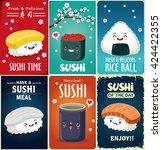 vintage sushi poster design... | Shutterstock .eps vector #424422355