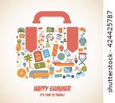 happy summer voyage holiday... | Shutterstock .eps vector #424425787