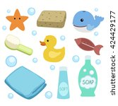 Baby First Shower Vector Icons. ...