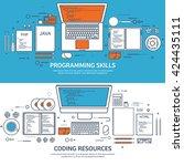 programming coding background... | Shutterstock .eps vector #424435111