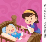 cute baby in the bed with... | Shutterstock .eps vector #424441375