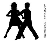 dancing couple silhouette on... | Shutterstock .eps vector #424455799
