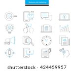 vector line icon business and... | Shutterstock .eps vector #424459957