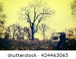 Vintage Venetian Mask on Fence Post with Dramatic Landscape and Trees
