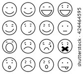 vector set of 16 outline... | Shutterstock .eps vector #424464595