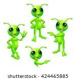 a cute cartoon green alien...