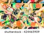 top view of friend hands... | Shutterstock . vector #424465909